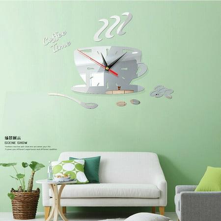 Modern DIY Teapot Large Wall Clock 3D Mirror Surface Sticker Home Office Decors
