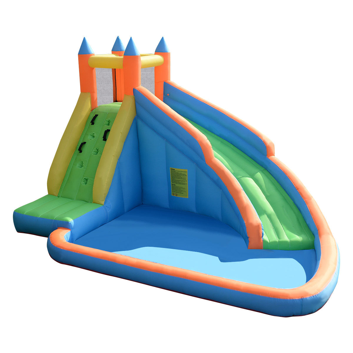 Click here to buy GHP 13'x9.8'x8.2' Kids Shark Castle 420D Nylon Inflatable Waterslide with Carry Bag.