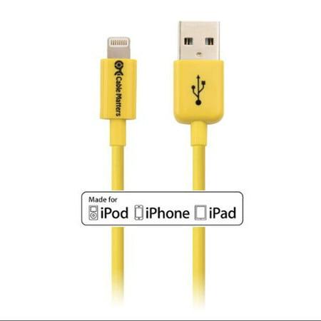 [Apple MFi certificado] Cable importa Cable Lightning en amarillo 6.6 pies/2 metros + Cable en Veo y Compro