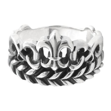 SLVR22560-13 Fleur De Lis & Leaf Patterned 925 Sterling Silver Ring - 13 in. (Championship Rings Size 13)