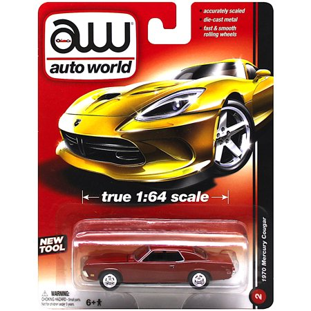 Auto World 1970 Mercury Cougar Red 1:64 Scale Diecast Car 1970 Mercury Cougar Convertible