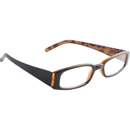 Wink by ICU 1.75 Fashion Reading Glasses, black and tortoise