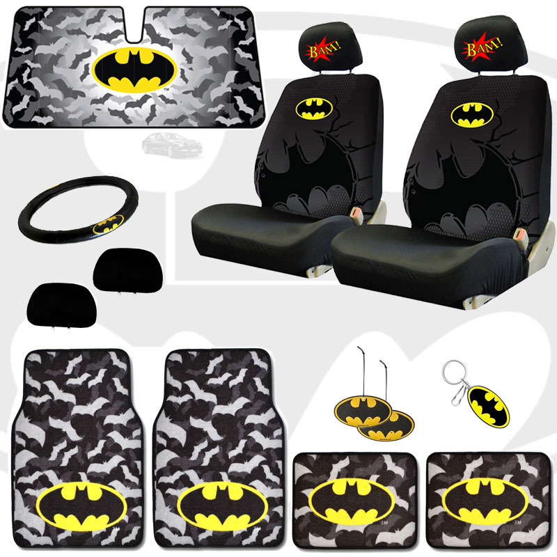 Unique Batman Car Classic Comic Book BAM! Headrest Covers And Seat Covers With Accesories - Shipping Included