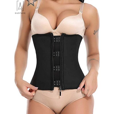 GustaveDesign Women Waist Cincher Trainer Corset Tummy Control Workout Body Shapewear with Zip&Hook for Weight Loss