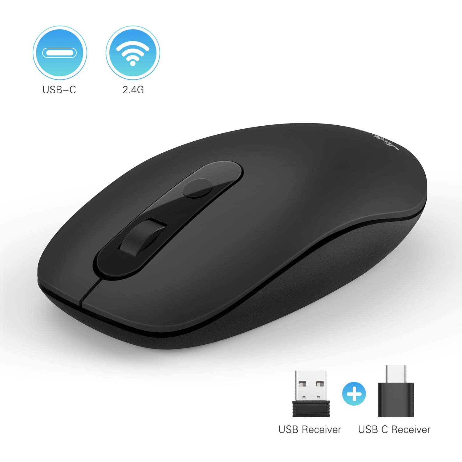 Type C Wireless Mouse, Jelly Comb MS019 2.4G Optical Mouse USB C