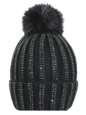 441e57c5683 Product Image Sparkling Knit Beanie Cap Hat With Fur Pom Pom