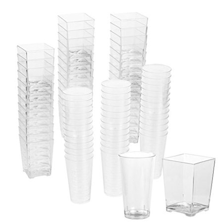72-Piece Plastic Shot Glass and Square Dessert Cup Disposable Wall Shooter Parties, Weddings and - Shooter Glass Set
