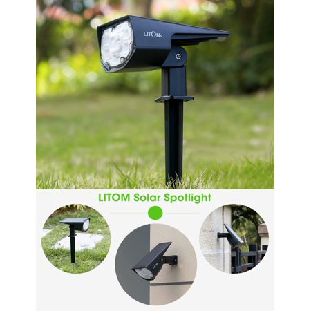LITOM Solar garden light with 12 LED, 2-in-1 Adjustable Solar Landscape Spotlight,IP67 waterproof level solar landscape lights,2 lighting modes for outdoor using,1pack Adjustable Landscape Spotlight