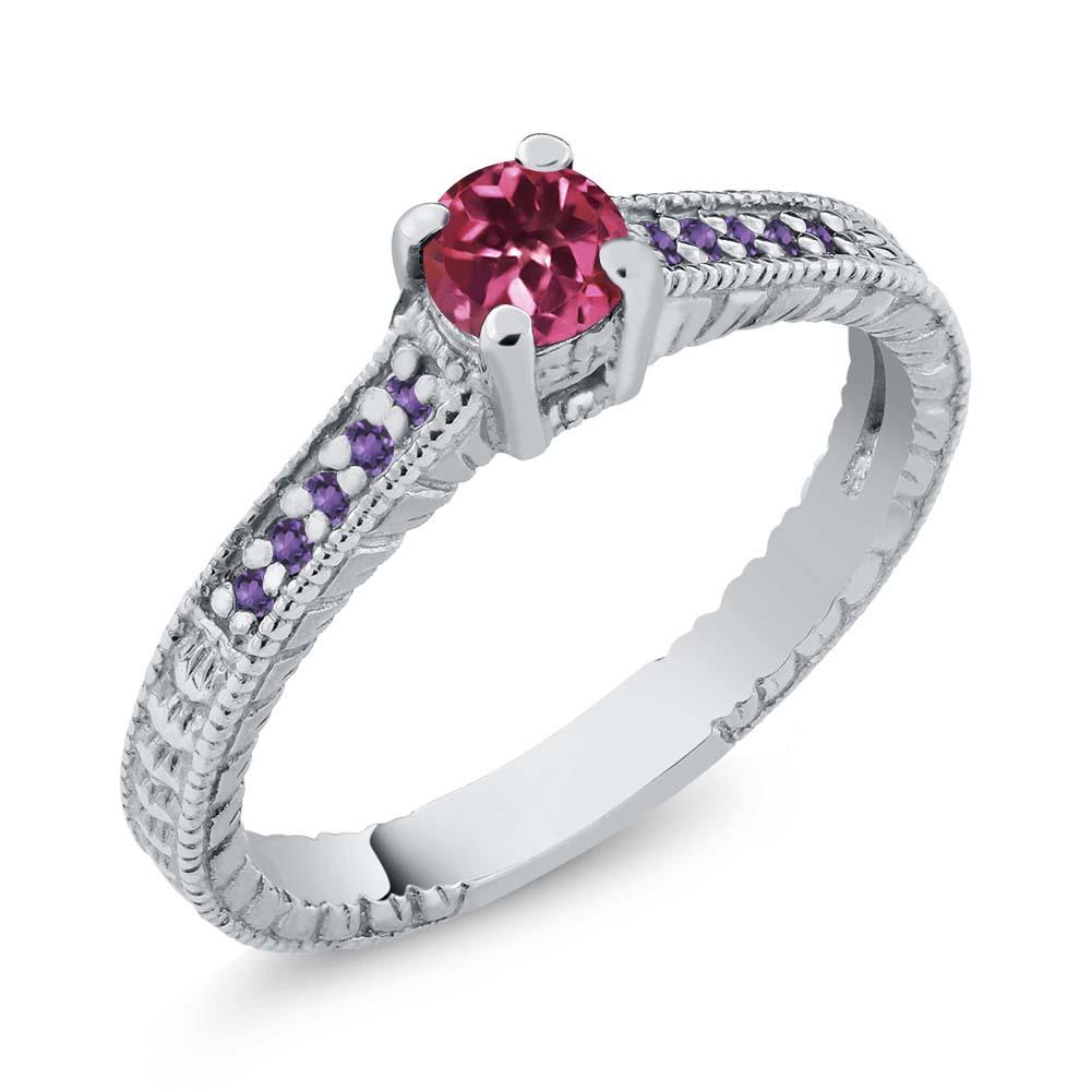 0.30 Ct Round Pink Tourmaline Purple Amethyst 925 Silver Engagement Ring