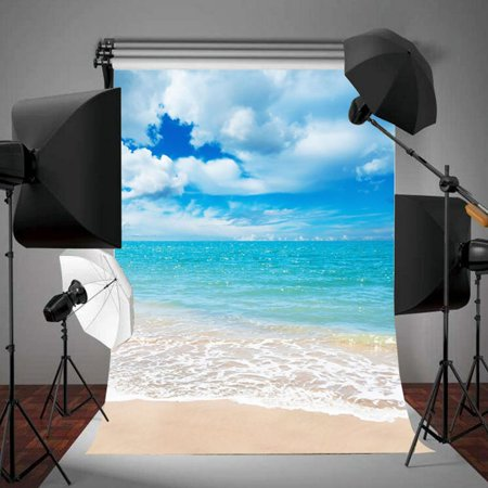 5ftx7ft  Blue Sky Summer Sea Beach Background Screen Photography Backdrop For Photo Studio Props