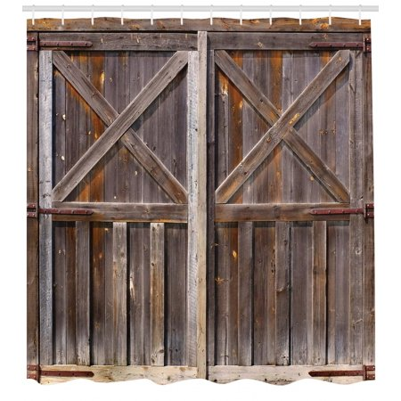(Rustic Shower Curtain, Old Wooden Barn Door of Farmhouse Oak Countryside Village Board Rural Life Photo Print, Fabric Bathroom Set with Hooks, Brown, by Ambesonne)