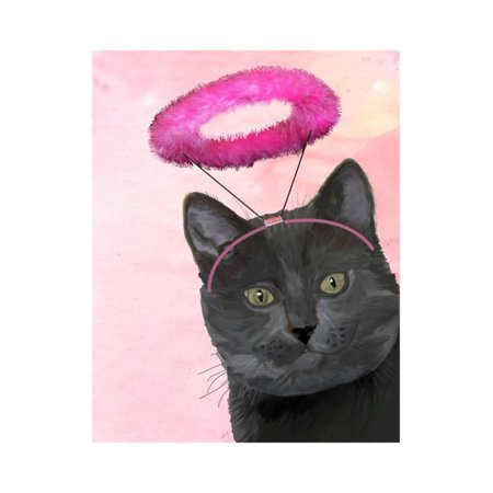 Black Cat with Pink Angel Halo Print Wall Art By Fab Funky](Angel With Halo)
