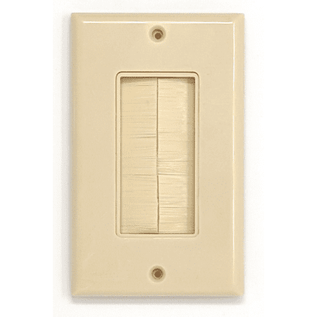 RiteAV - Single Gang Wall Plate with Brush Bristles - Ivory [Now Fits Larger Cables]