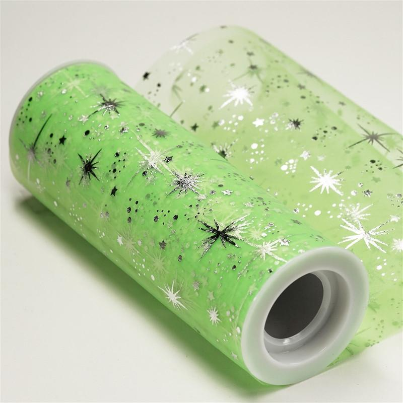 "6""x10 Yards Tea Green Organza Tulle Fabric Bolt With Hot Foil Stamped Star Design"
