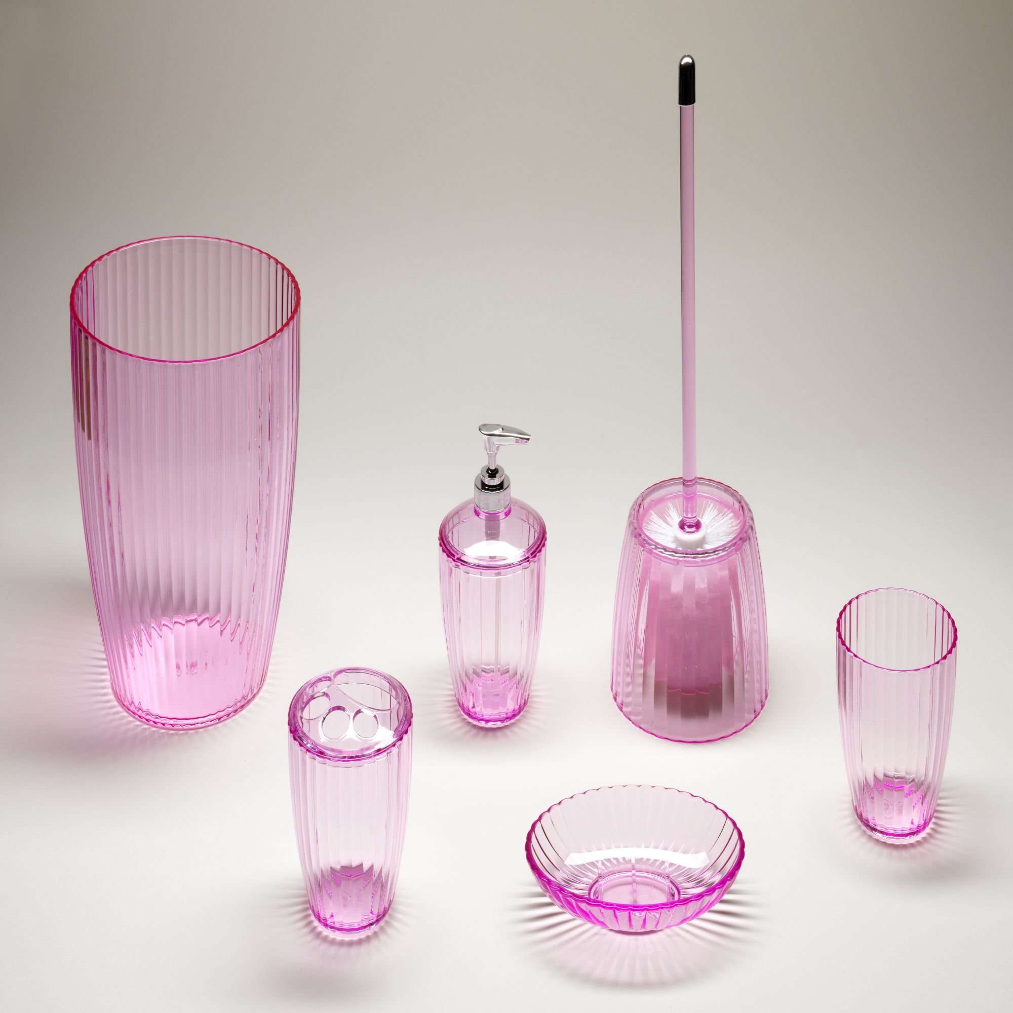Pink, Ribbed 5 Piece Acrylic Bath Accessory Set