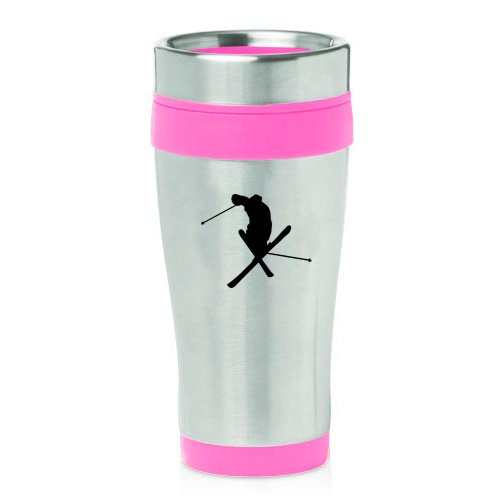 16oz Insulated Stainless Steel Travel Mug Ski Skier Extreme Sports Trick (Pink ) by