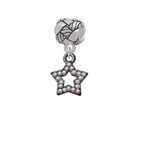 Open Black Star with Clear AB Crystals - Woven Rope Charm Bead