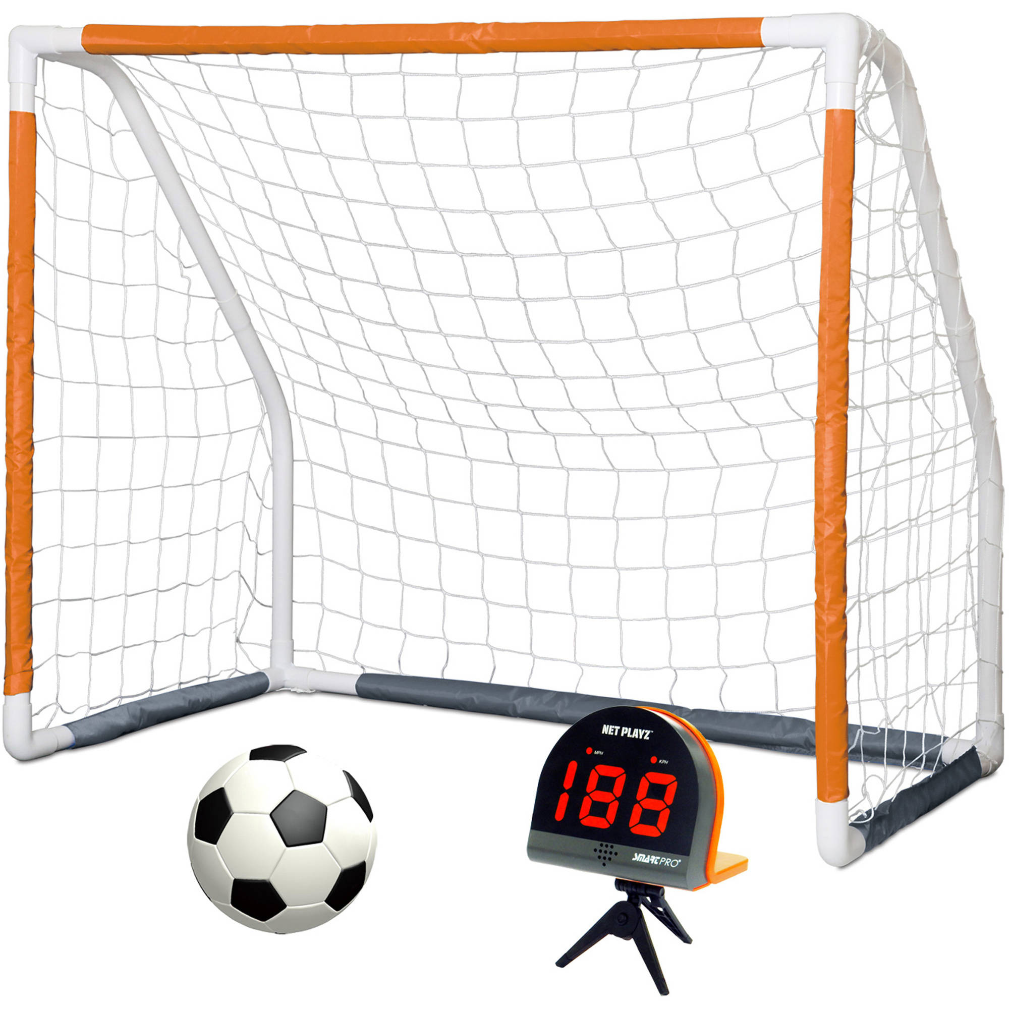 Net Playz Smart Pro Sports Speed Radar and 5ft x 4ft Soccer Goal with Size 4 Ball Combo by SHENG XIN SPORTS GOODS CO, LTD.