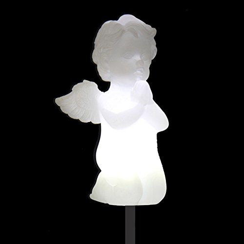 Solar Cherub Cupid Angel Lights, Garden Stake Outdoor Yar...