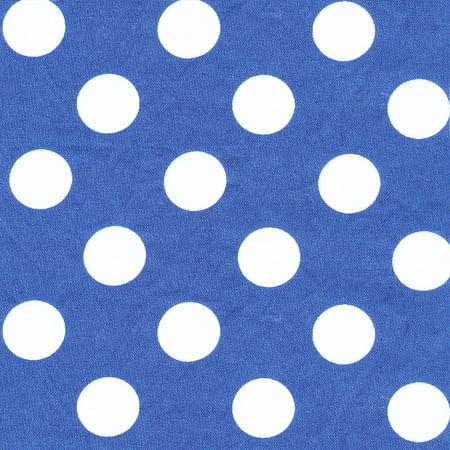 SHASON TEXTILE (3 Yards cut) 100% COTTON PRINT QUILTING FABRIC, SOFT BLUE / WHITE BIG DOTS.