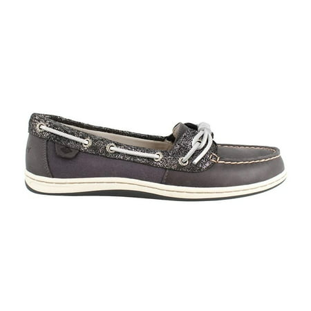 Womens Metallic Leather - Sperry Womens Barrelfish Metallic Leather Boat Shoe Dark Navy Blue (5 M)