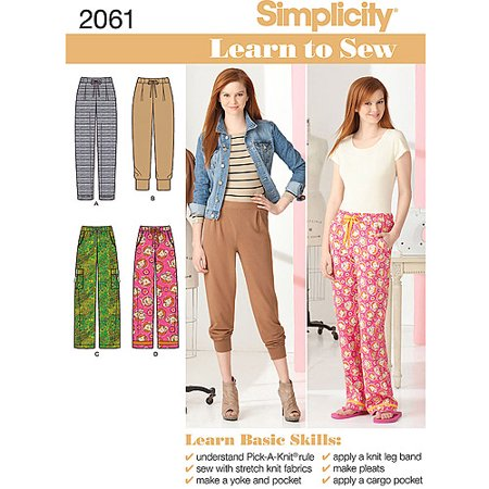 Easy Sock Knitting Patterns - Simplicity Pattern Learn To Sew Misses Knit Pants, (6, 8, 10, 12, 14, 16, 18)