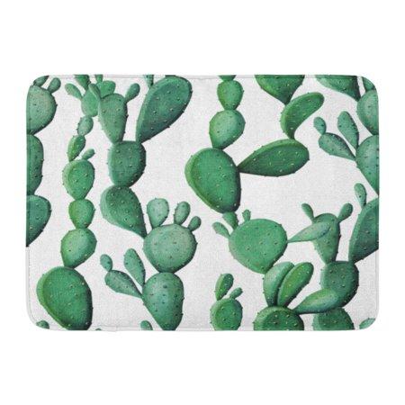 GODPOK Arizona Green Jungle Watercolor Cactus Tropical Garden Watercolour Sketch Blossom Rug Doormat Bath Mat 23.6x15.7 inch - Cactus Jungle