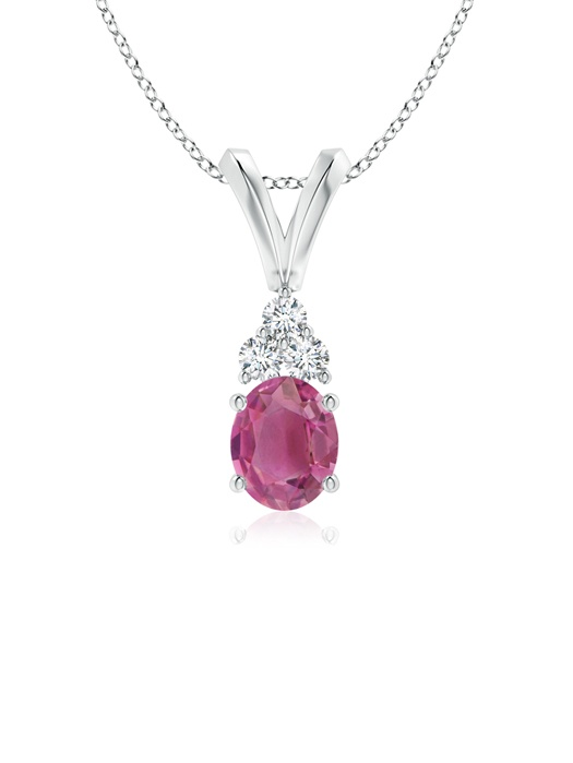 October Birthstone Pendant Necklaces Oval Pink Tourmaline Solitaire Pendant with Trio Diamond V-Bail in 950 Platinum... by Angara.com