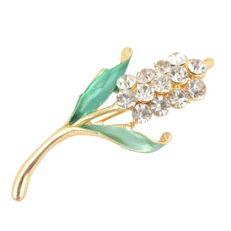Unique Bargains Green Rhinestone Accent Gold Tone Metal  Pin Brooch Breastpin for Ladies