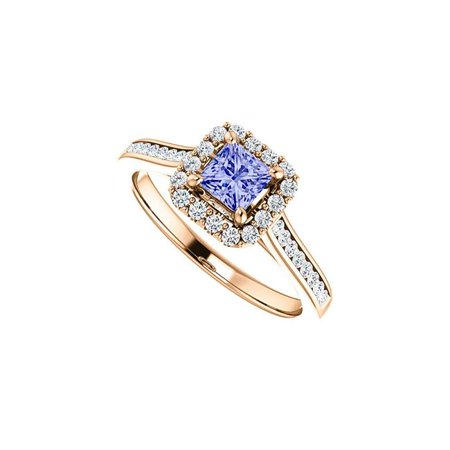 Tanzanite Accented Channel Set (1 CT 14K Rose Gold Channel Set Cubic Zirconia Accented Square Tanzanite Halo Ring, Size)