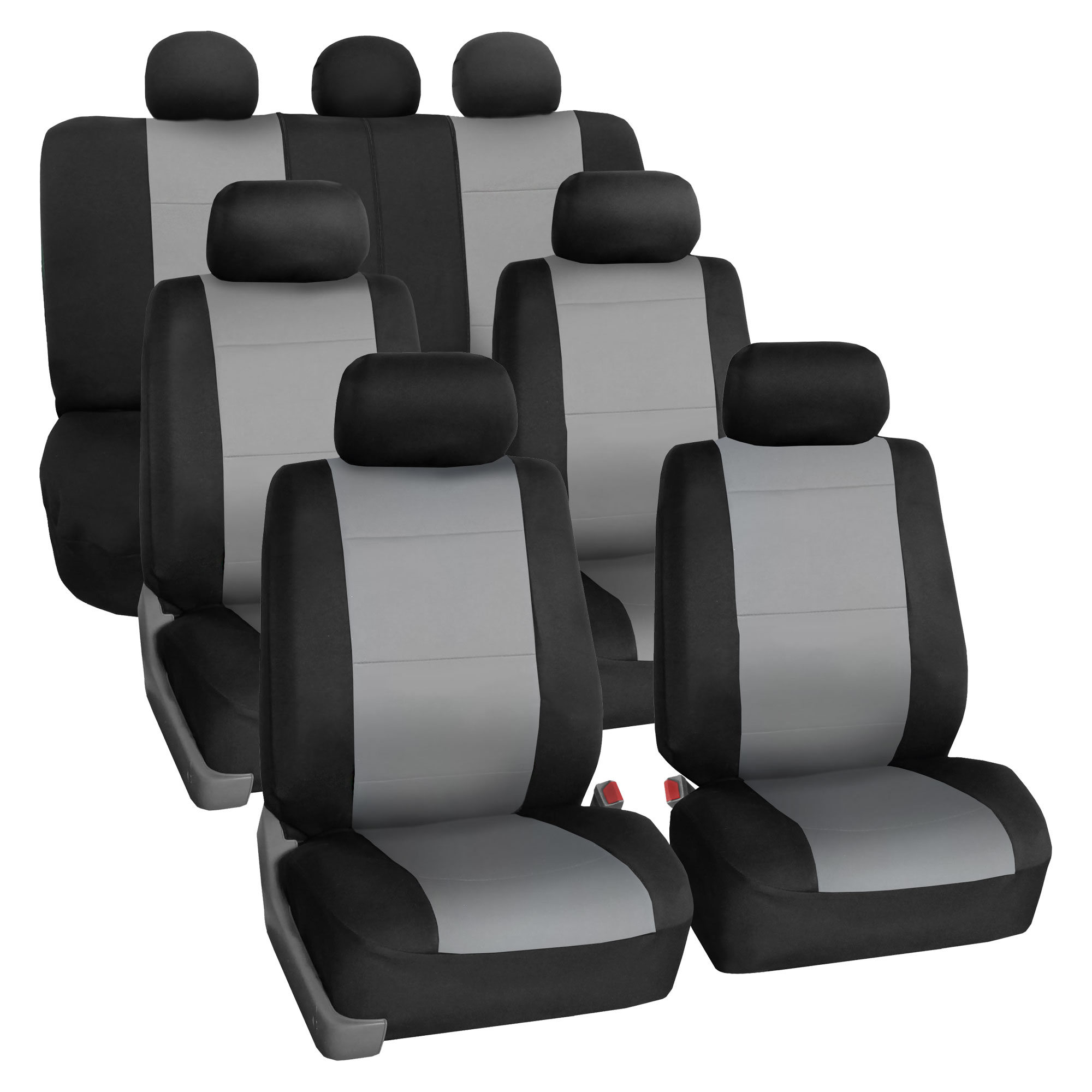 Neoprene 3 Row Car Seat Covers For SUV VAN TRUCK, Airbag Compatible Split Bench 7 Seaters, Gray Black