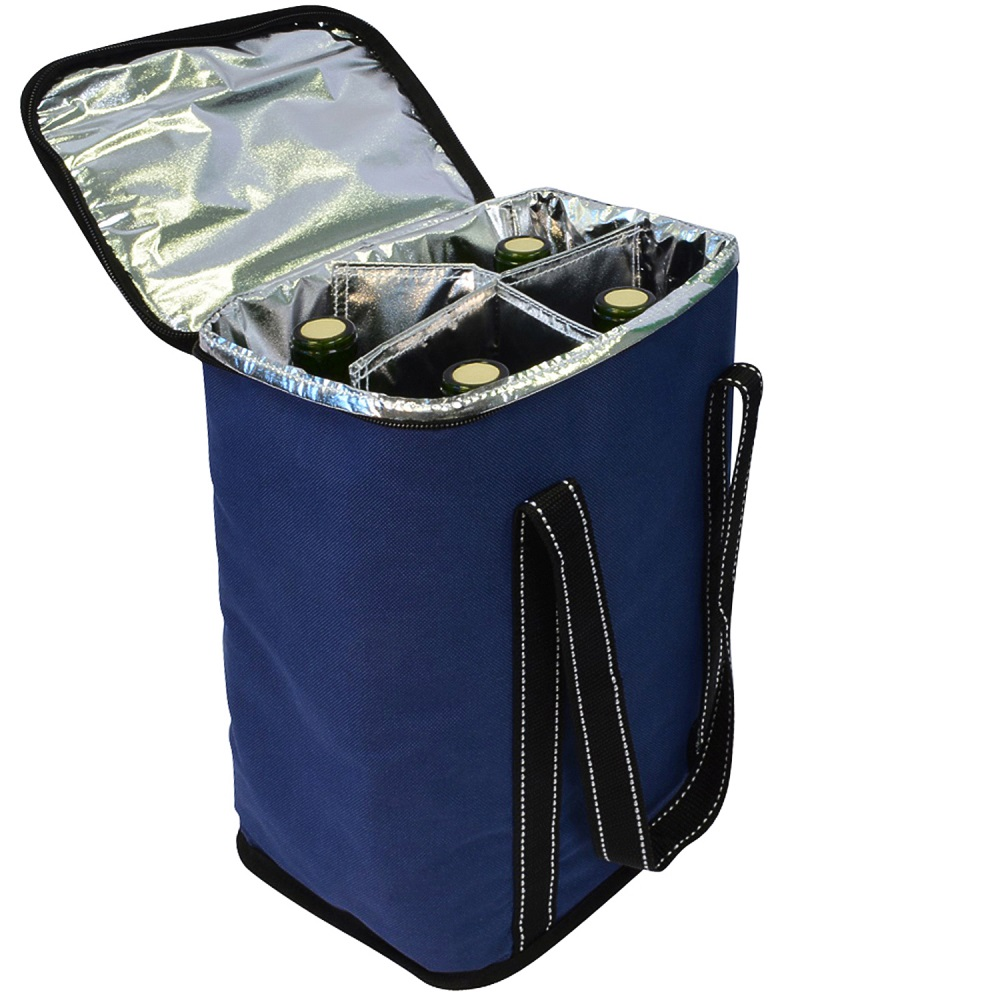 T Brands 0346 Wine Tote Bag w/ Metal Handles, Wine Bottle ... |Aluminum Wine Bottle Totes