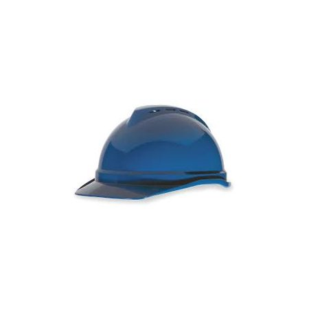 Msa Blue V Gard Advance Class C Type I Polyethylene Vented Hard Cap With Fas Trac 4 Point Suspension And Glaregard Underbrim