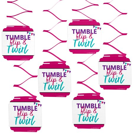 Tumble, Flip & Twirl - Gymnastics - Birthday Party or Gymnast Party Hanging Decorations - 6 Count