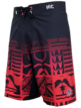 "HIC 21"" Lehua 8 Way Stretch Boardshorts, Black/Red 33"