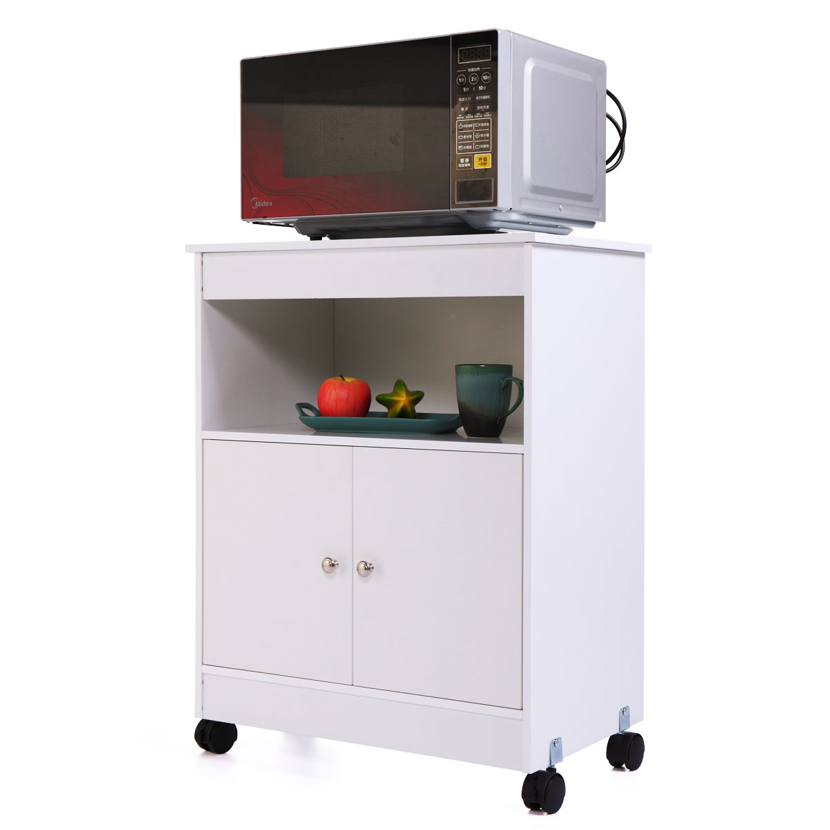 Jaxpety White Wood Storage Cabinet With Microwave Cart 2 Doors 4