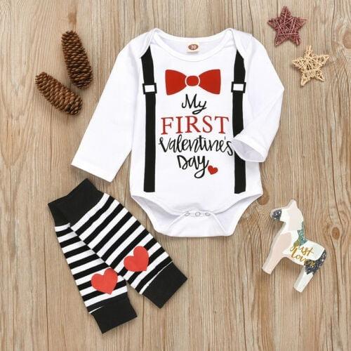 Carters Baby Boy First Valentine/'s Day Coverall Bib Set Size Newborn 3 Months
