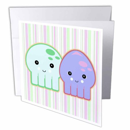 3dRose Cute Kawaii Octopus and Squid Pals on Striped Background, Greeting Cards, 6 x 6 inches, set of 6 (Kawaii Halloween Background)