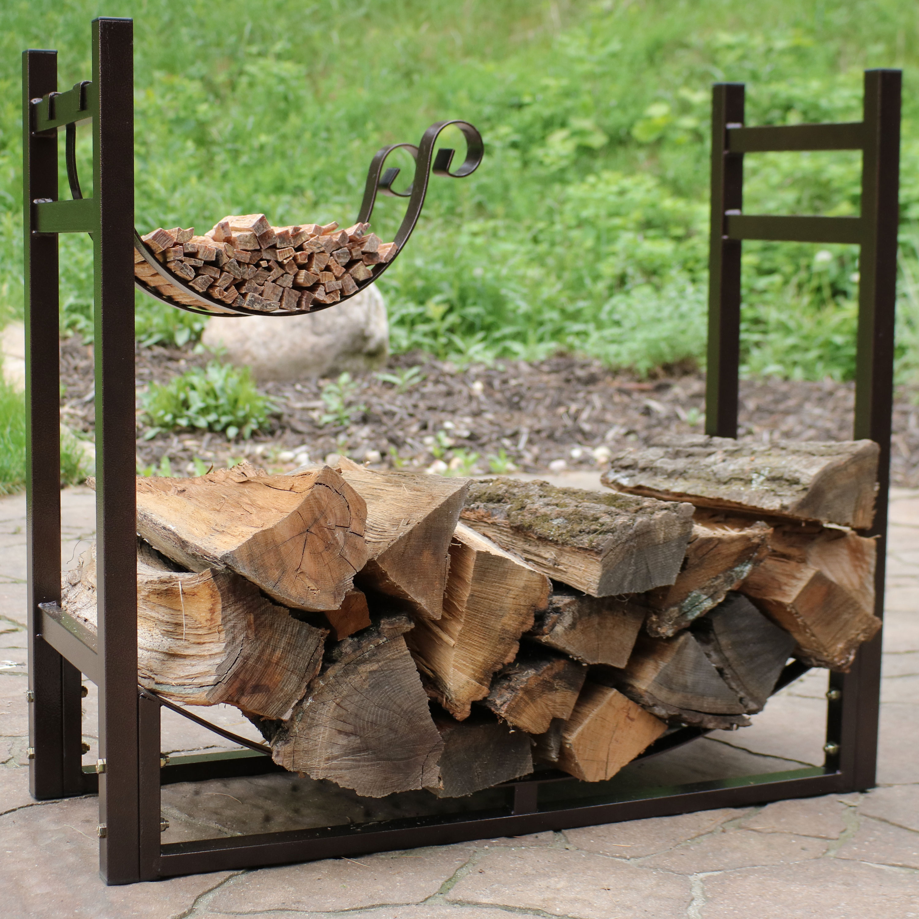 Sunnydaze Indoor/Outdoor Firewood Log Rack with Kindling Holder, 33 Inch Wide x 30 Inch