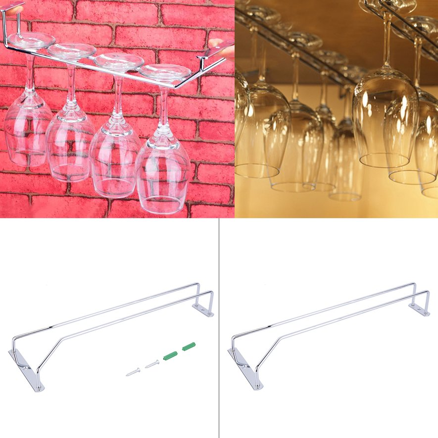 Wine Glass Rack Hanging Chrome Plated Stemware Holder Under Cabinet Home Bar