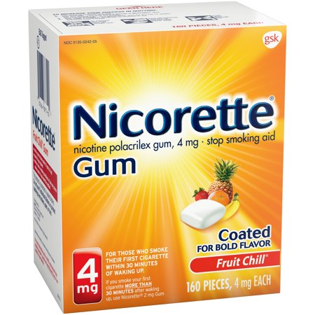 Nicorette Nicotine Gum, Stop Smoking Aid, 4mg, Fruit Chill Flavor, 160 count