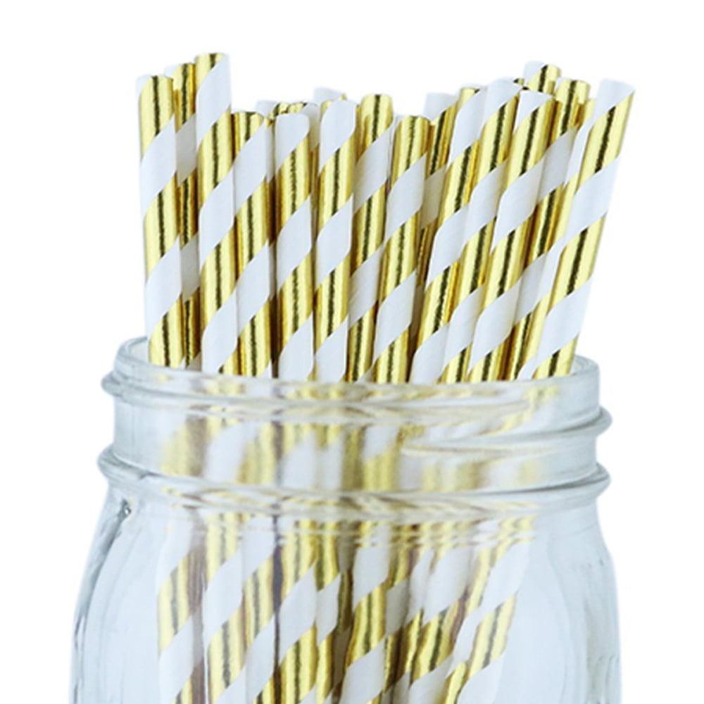 Just Artifacts 100pcs Decorative Striped Paper Straws (Striped, Metallic Gold)