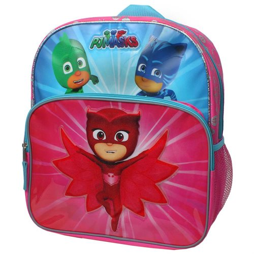 Disney Junior PJ Masks Owlette, Gekko and Catboy Save The Day 14 inch Backpack with Side Mesh Pockets