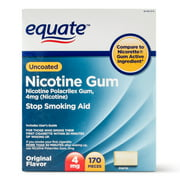 Equate Uncoated Nicotine Gum, Original Flavor, 4 mg, 170 Count