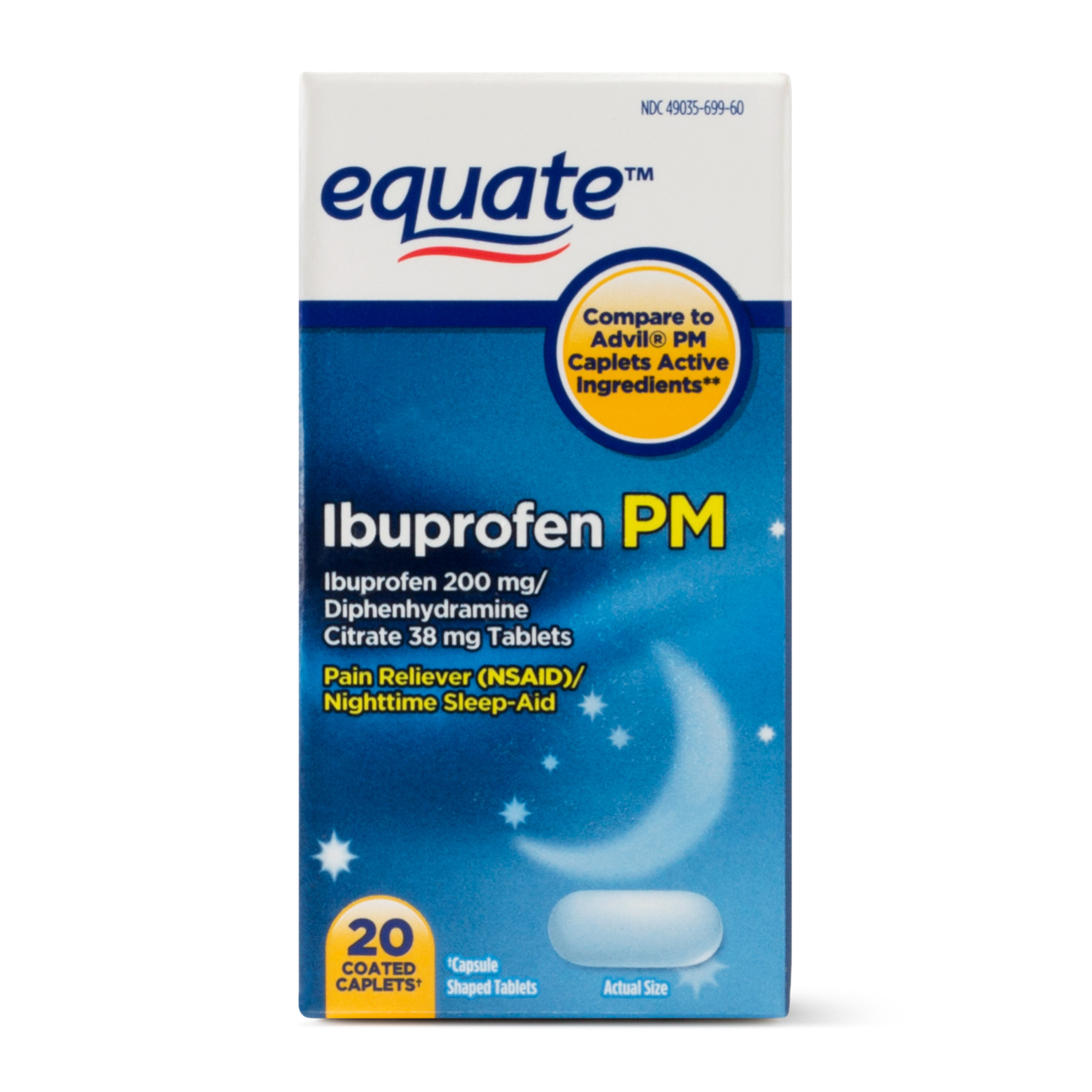 Equate Ibuprofen PM, 200 mg, 20 Coated Caplets