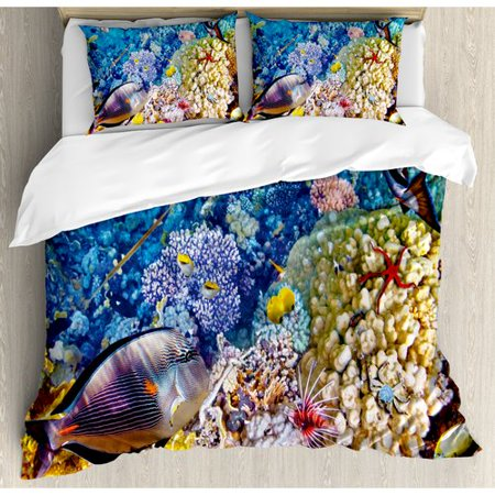 Ambesonne Egyptian Red Sea Bottom View with Marine Creatures Top of Indian Ocean Scuba Image Duvet Cover Set (Indian Ocean Scuba)