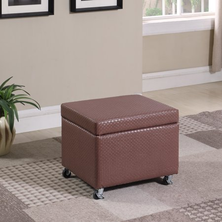 """17"""" in Auburn Brown Basketweave Leatherette Filing Storage Ottoman Seat with Industrial Caster Wheels"""