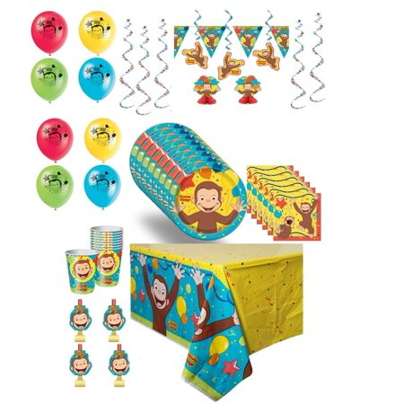 Deluxe Birthday Care Package - Curious George Deluxe Birthday Party With Decorations for 16 Guests