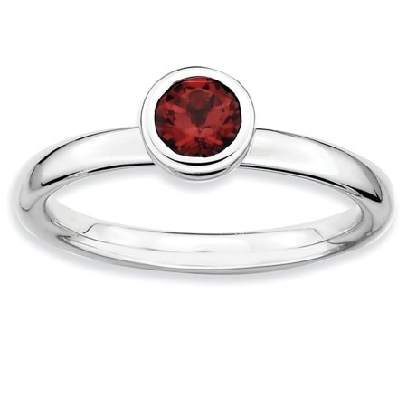 925 Sterling Silver Low 5mm Round Red Garnet Band Ring Size 5.00 Stone Stackable Gemstone Birthstone January Fine Jewelry Gifts For Women For Her - image 8 de 8