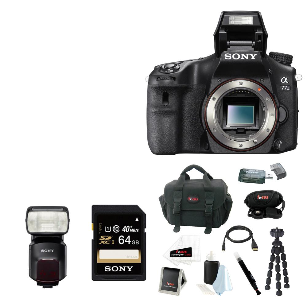 Sony Alpha a77II DSLR Camera, Sony HVLF60M Flash for Alpha